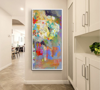 MUYA decorative flower oil painting canvas pictures for living room modern paintings vertical paintings for living room wall