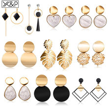 X&P New Korean Heart Statement Drop Earrings 2019 for Women Fashion Vintage Geometric Acrylic Dangle Hanging Earring Jewelry(China)
