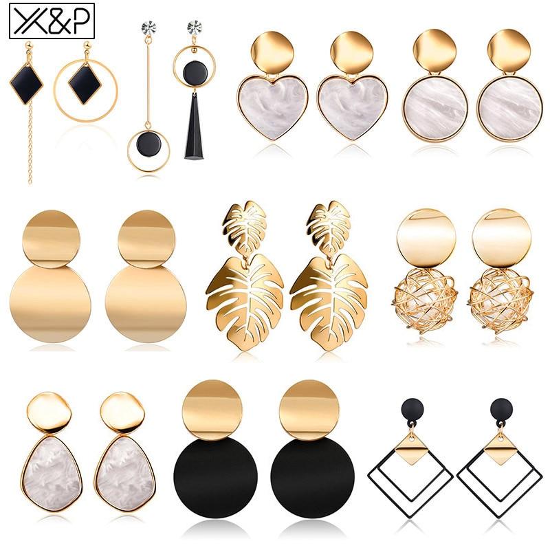 X & P-boucles d'oreilles, en forme de cœur, bijoux de boucles d'oreilles à pendentif en forme de triangle géométrique en acrylique pour femmes, coréen, 2020