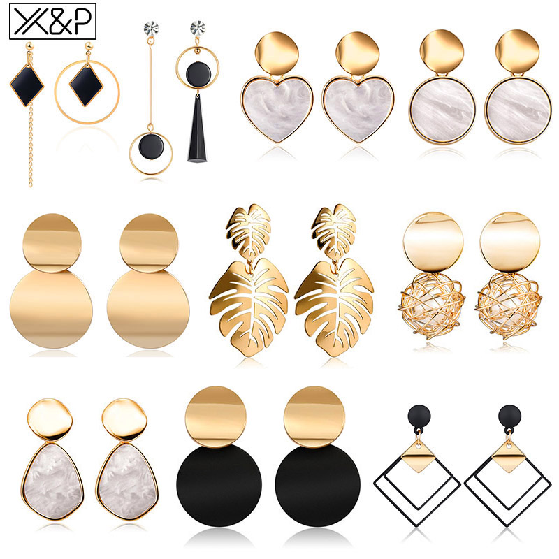X&P New Korean Heart Statement Drop Earrings 2019 for Women Fashion Vintage Geometric Acrylic Dangle Hanging Earring Jewelry