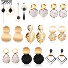 X amp P nowe koreańskie serce oświadczenie spadek kolczyki 2019 dla kobiet moda Vintage geometryczne akrylowe zwisają wiszące kolczyki biżuteria tanie tanio Copper Alloy TRENDY Drop Earrings Acrylic Kobiety Korean Earrings Gold Earrings Dangle Earrings Geometric Earrings Acrylic Earrings
