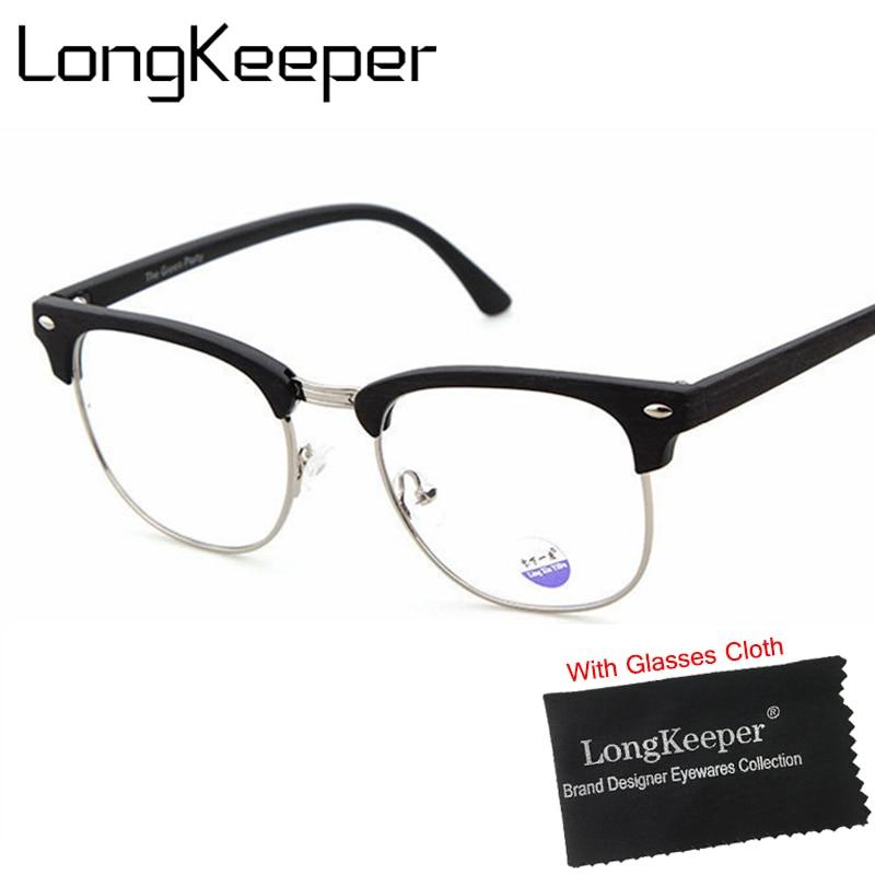 5acf6dc91301c3 LongKeeper Haute Qualité Semi Sans Monture Lunettes Cadre pour Femmes  Hommes Objectif Clair Lunettes Demi-Trame Lunettes Optique lunettes de grau