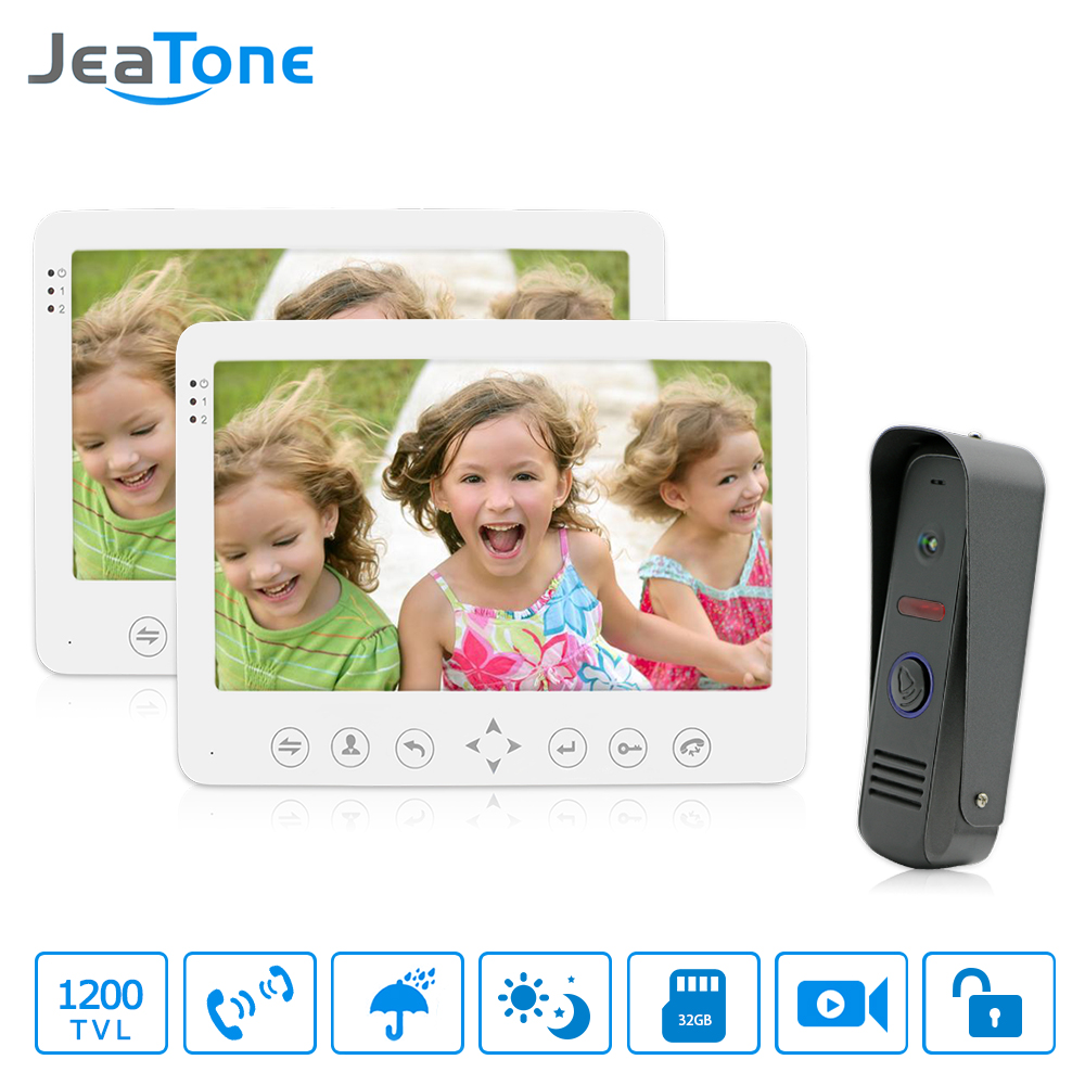 JeaTone 7 TFT LCD Wired Video Door Phone Intercom Unlocking Doorbell Home Security Camera Night Vision Visual Doorbell 7 inch video doorbell tft lcd hd screen wired video doorphone for villa one monitor with one metal outdoor unit night vision