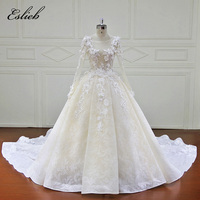 Amazing O Neck Long Sleeves A Line Chapel Tail Wedding Dress Button Back Special Flower Lace Appliques Bridal Gown Custom Size