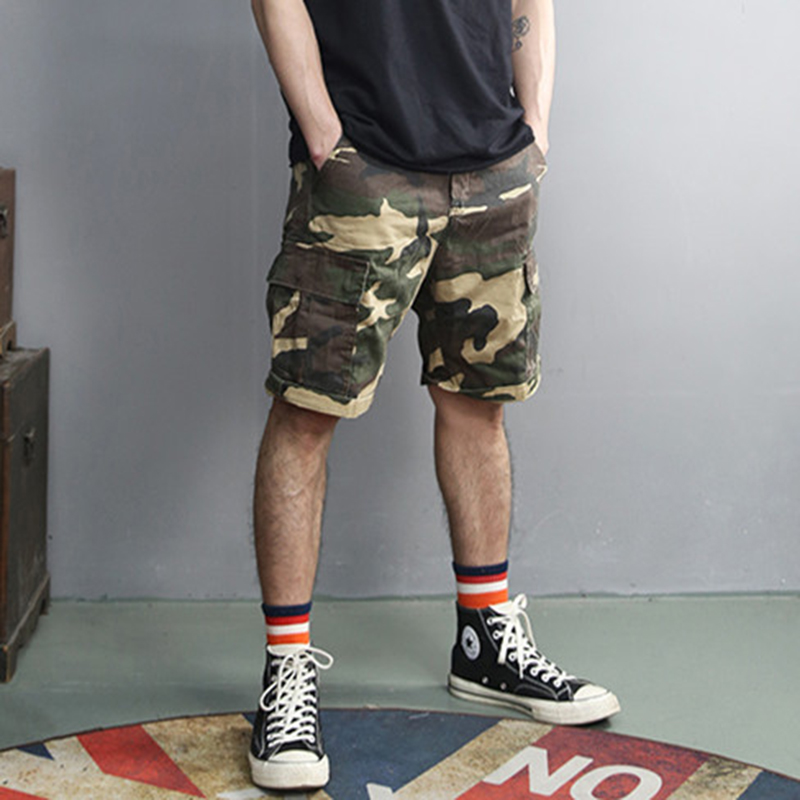 Retro Washed Camouflage Fashion New Men Slim Casual Shorts Metrosexual Men Summer Brand Pockets European Style Army Shorts K856