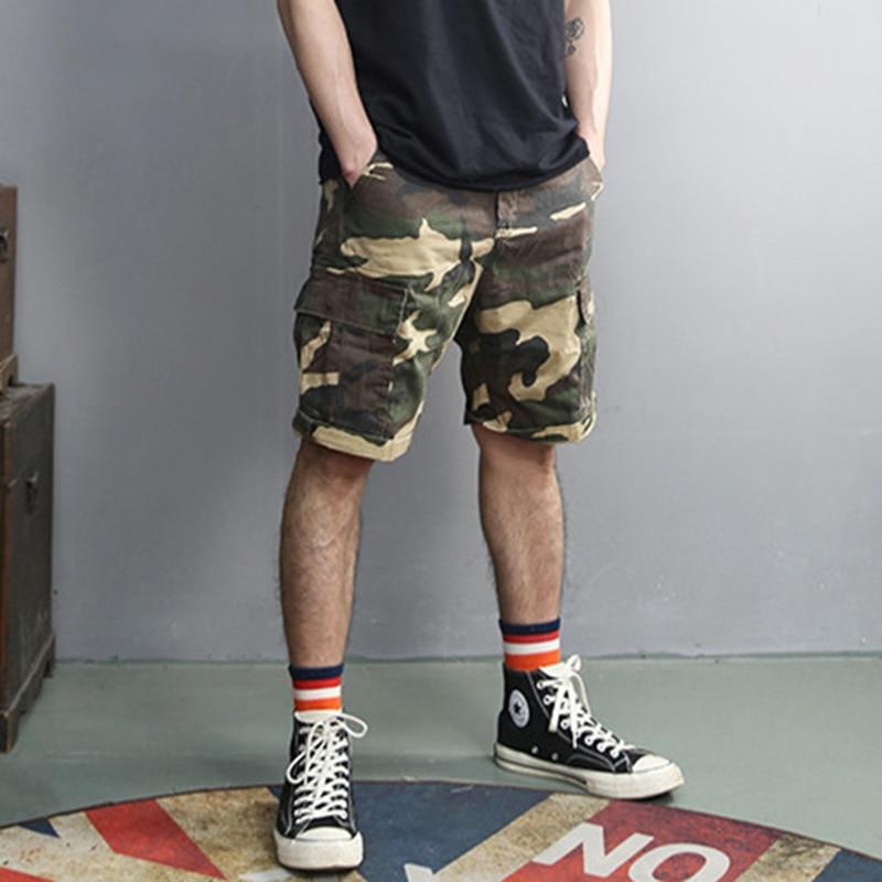 Retro Washed Camouflage Fashion New Men Slim Casual Shorts Metrosexual Men Summer Brand Pockets European Style Army Shorts K856