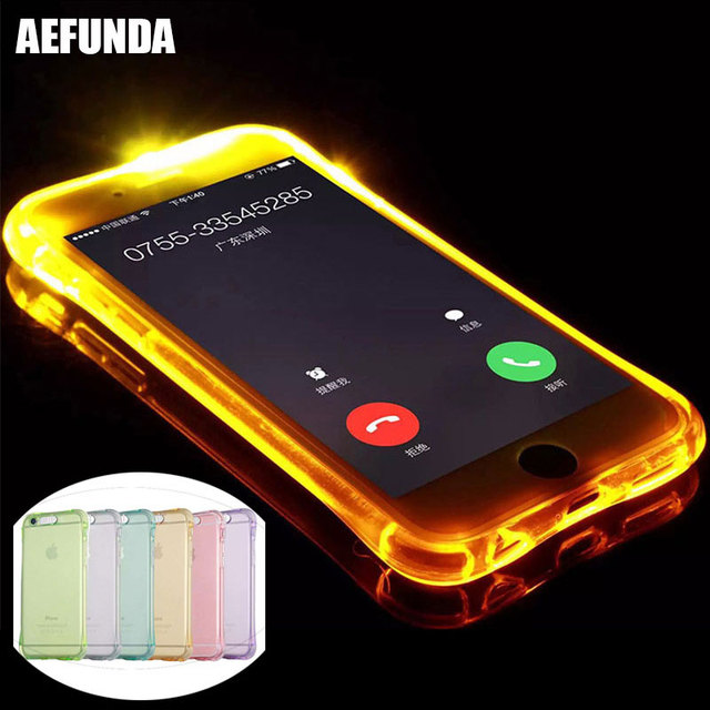 san francisco 603f4 9bed6 US $1.44 15% OFF|LED Flash Lighting Up Phone Case for Apple iPhone X XS Max  XR 6 7 6S 8 Plus 5 5S SE Remind Incoming Call Light TPU Clear Cover-in ...