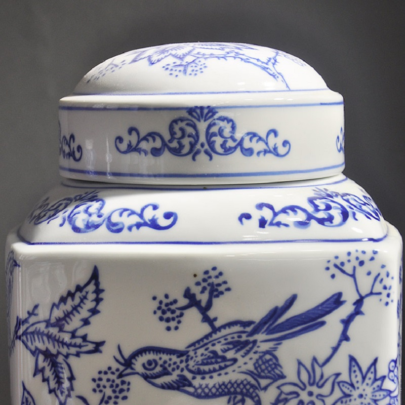 Flower and bird square cans Jingdezhen ceramic ware storage tank blue and white porcelain soft fitting home decoration room mode