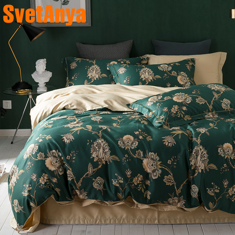 Svetanya Green Egyptian Cotton Bedding Sets Bedsheet Pillowcases Duvet cover set Twin Queen King Double Size Bedclothes