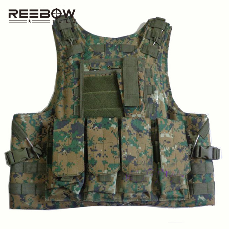 REEBOW TACTICAL Urban Military Fans Amphibious Vest Multi-functional MOLLE Nylon Vest Men Airsoft Outdoor Sports Paintball SWAT men military tactical outdoor shirts 100% cotton breathable long sleeve shirt army multi pockets swat shooting urban sports