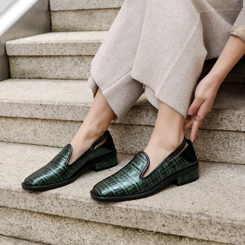 Bimolter Genuine Leather Spring Flats For Woman Fashion Loafers Female Slip On Vintage Flat Shoes Woman Sapato Feminino FB054 in Women 39 s Flats from Shoes