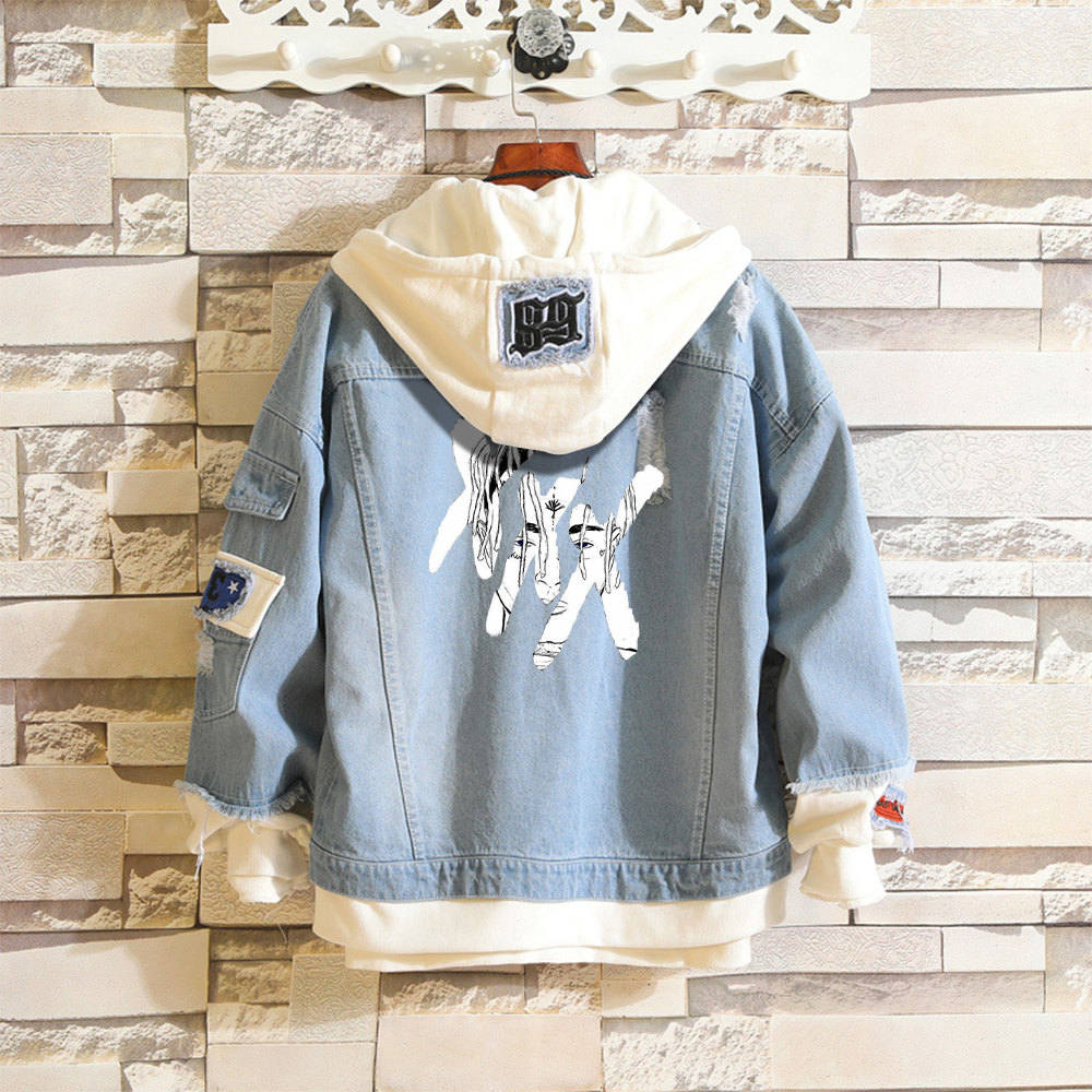 XXXtentacion 2019 Kpop Denim Jean Stitching Jacket Coat Harajuku Bangtan Boy Jimin Suga Jungkook Clothes fans fashion Hoodies(China)