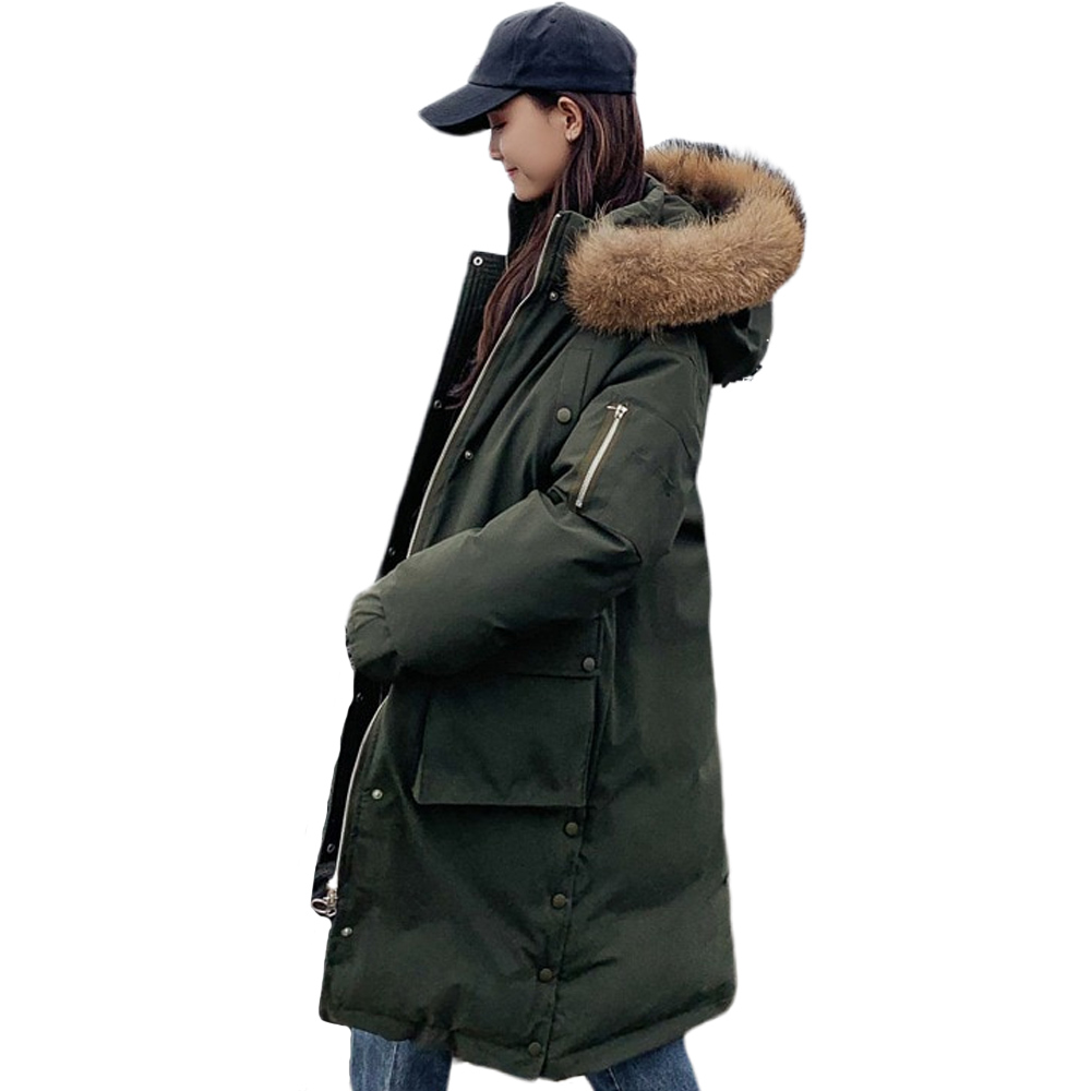 Fake fur collar down   Parka   dimensional Pocket Large Hair Collar Down Clothes Women Thickening Coat 915