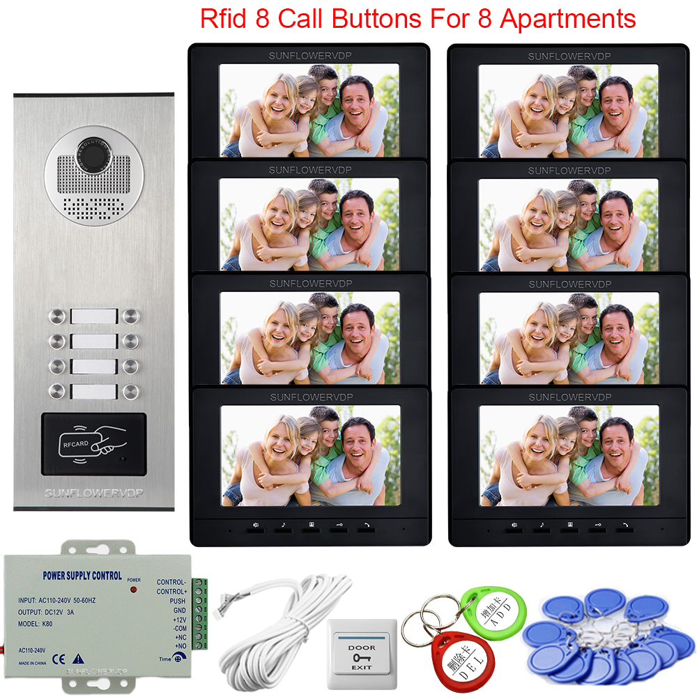 8 Apartments Access Control Intercoms for Private Homes Video Intercom Doorbell 7inch Color Video Intercom System Video Intercom