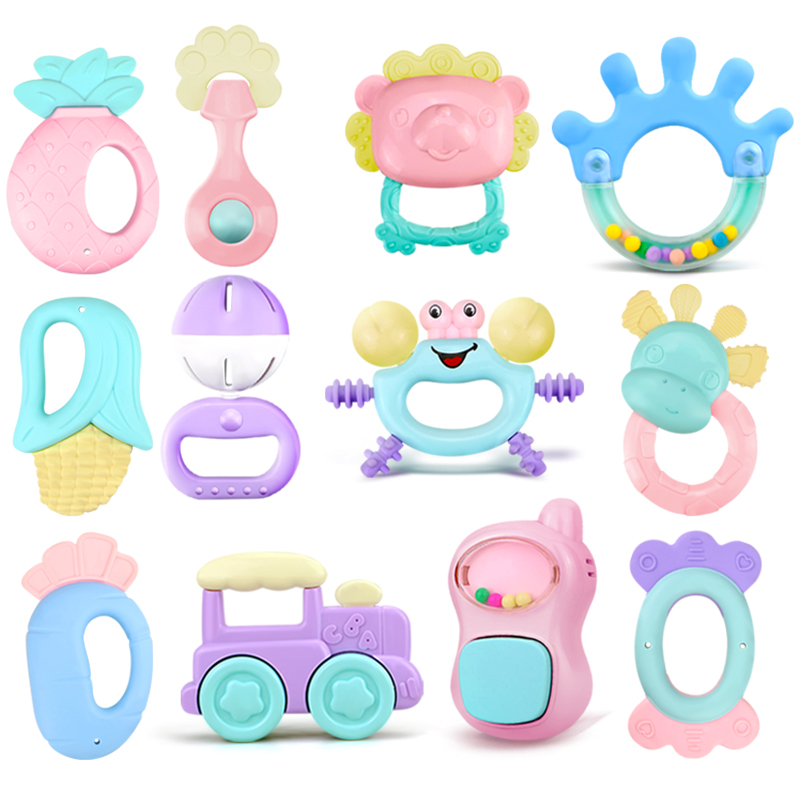 0-12 Months Baby Grasp Rattles Toy Rubber Cartoon Mobiles Teether Toys Newborn Plastic Music Hand Jingle Shaking Bells Hammer