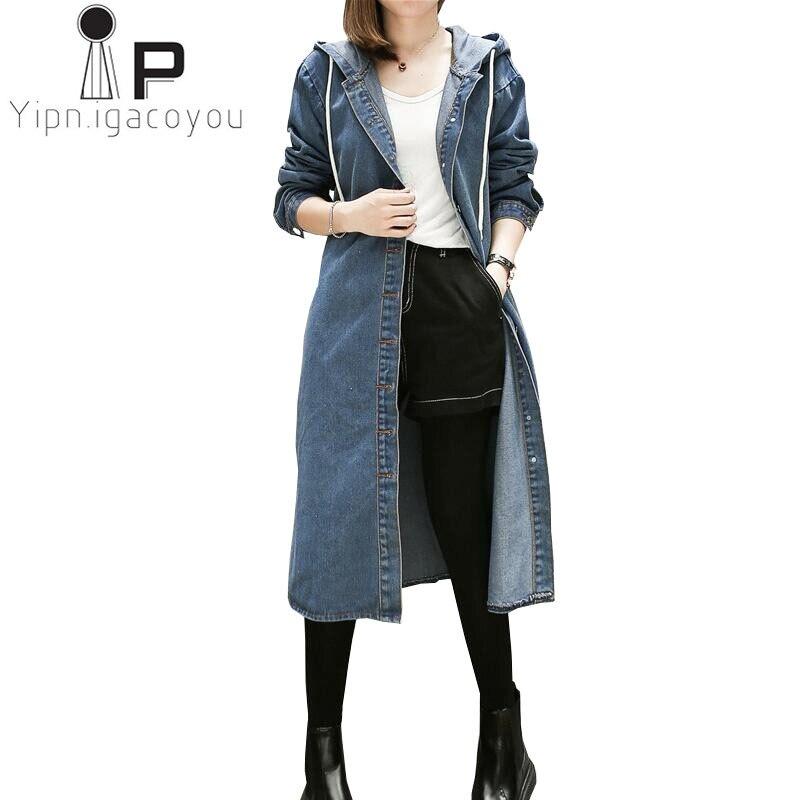 Tranchée Taille vent Oversize Coupe Capuchon À Longue Blue Manteau 2018 Jeans Féminine Plus Automne Mode Pardessus Femmes Femelle Denim La 0RE7dw