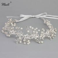 Miallo Handmade Bridal Pha Lê Rhinestone Tóc Mảnh Phụ Nữ Màu Trắng Ngà ngọc trai Tóc Cưới vine wedding tiaras Thái Phụ Kiện