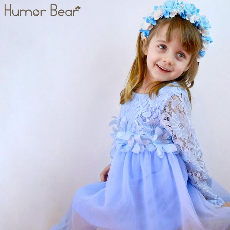 270dd337f Humor Urso 2018 Meninas Vestido Vestido de Princesa Apliques Design Floral  para Meninas Roupa Dos Miúdos Crianças Roupas Coágulo