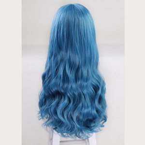 Image 2 - 60cm Descendants 2 Evie Blue Long Wavy Wig Cosplay Costume Women Synthetic Hair Party Role Play Wigs + Wig Cap