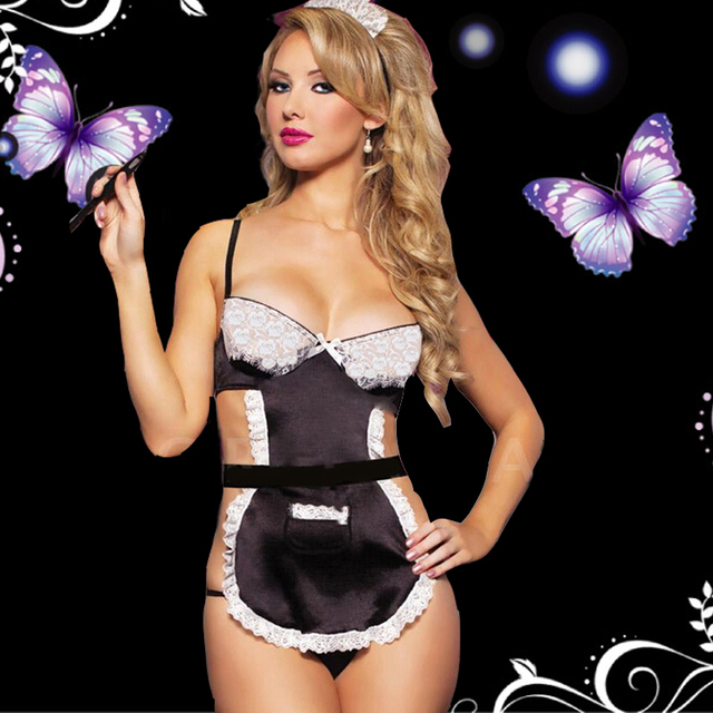 New French Maid erotic Lingerie Outfit Fancy Dress lenceria sexy 716