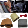Factory Outlet Car Steering Wheel Cover Diy Genuine Cowhide Leather Car Steering Wheel Center Cap With Needles Thread Car-Cover