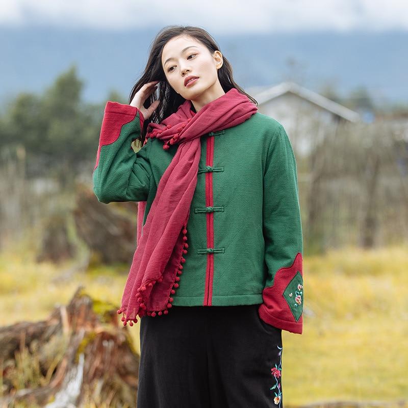 Style Veste Costume Nouvelles Vert Chinois Femmes Vent Tang Hiver Plaque Bouton Broderie De National Court Coton Amélioré ZpPfq
