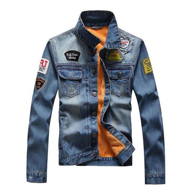 3550480a7be New Wool Liner Men s Denim Jacket Fashion Patchwork Badge Thick Warm Fleece  Warm Men Casual Scratched Jean Jacket Fashion XXXL