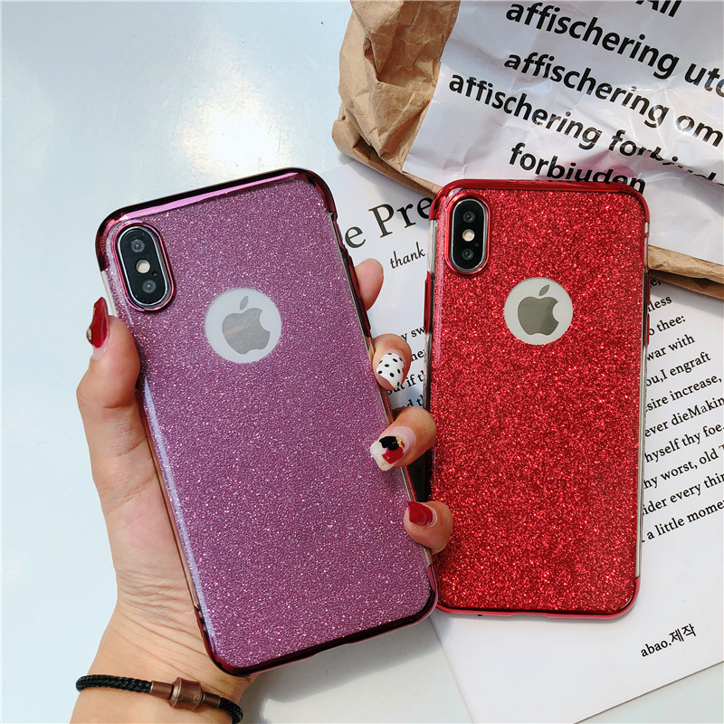 Cyato Plating TPU Phone Case For iphone X case For iphone SE 5 5S 7 8 Soft Glitter cover For iphone 8 7 6S 6 S Plus X Case capa in Fitted Cases from Cellphones Telecommunications
