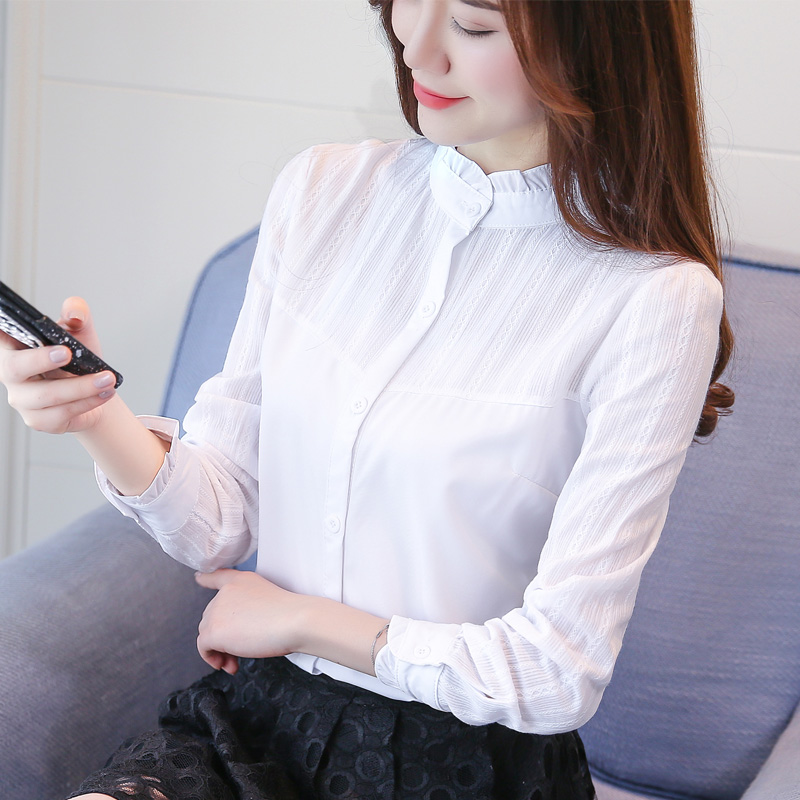 2018 basic white shirts women long sleeve ruffles blouse female plus size women tops office Formal & Casual blusas mujer 1
