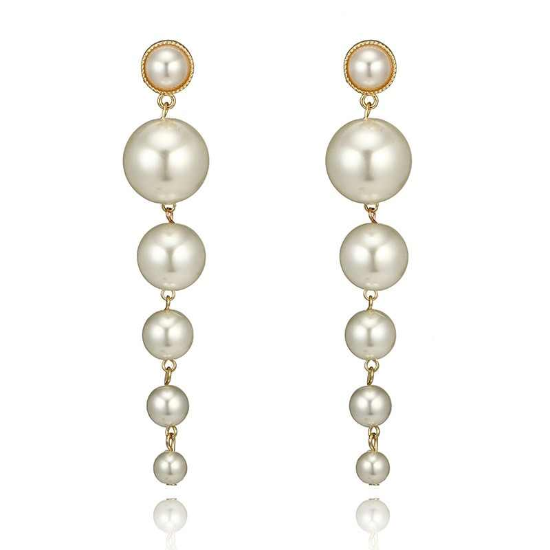European and American personality simple pearl long earrings female Korean wild tide atmospheric earrings fashion jewelry