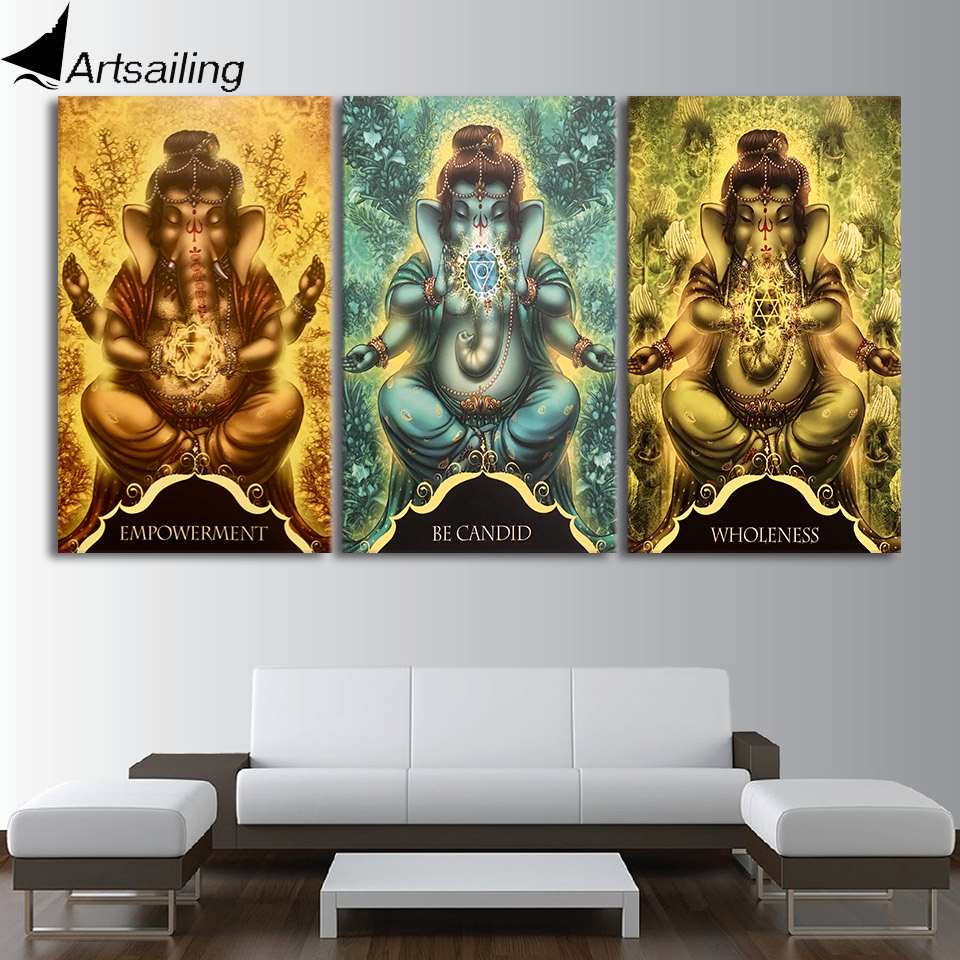 Lord ganesha multi color painting hd image - Hd Printed 3 Piece Canvas Art Whispers Of Lord Ganesha Painting Wall Pictures For Living Room