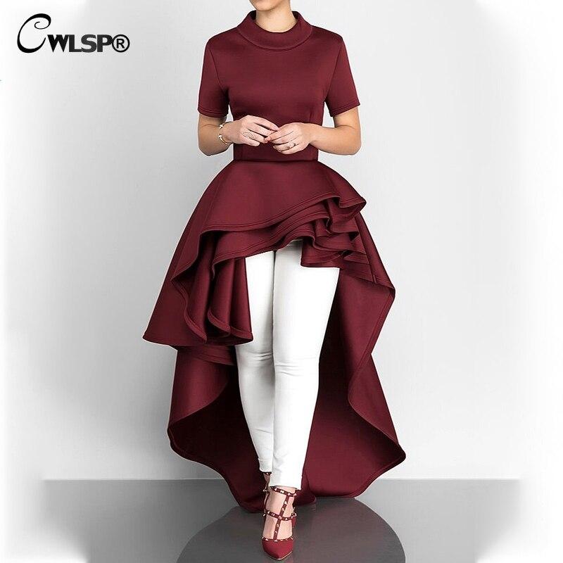 CWLSP 2018 Elegant Floor Length Long Dress Female Half Turtleneck Ruffles Short Sleeve Asymmetrical Dovetail Summer Vestidos