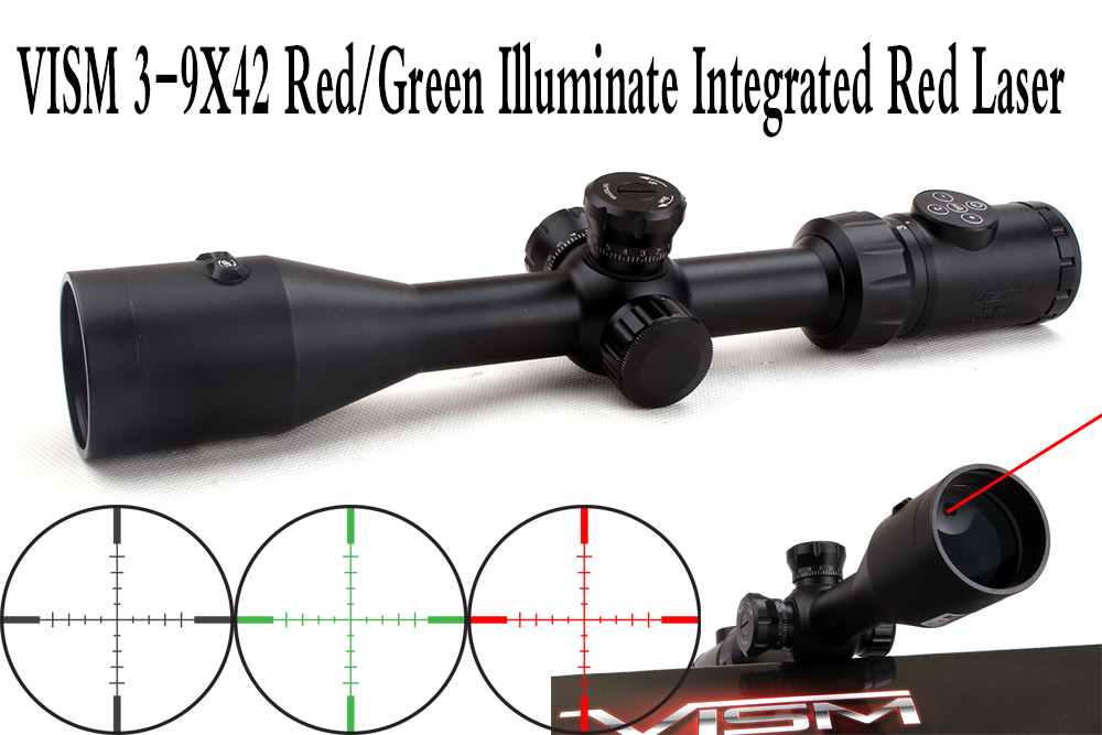 VISM 3 9X42 Red Green Illuminate Tactical Riflescope w Integrated Red Laser Sight Hunting Rifle Scope