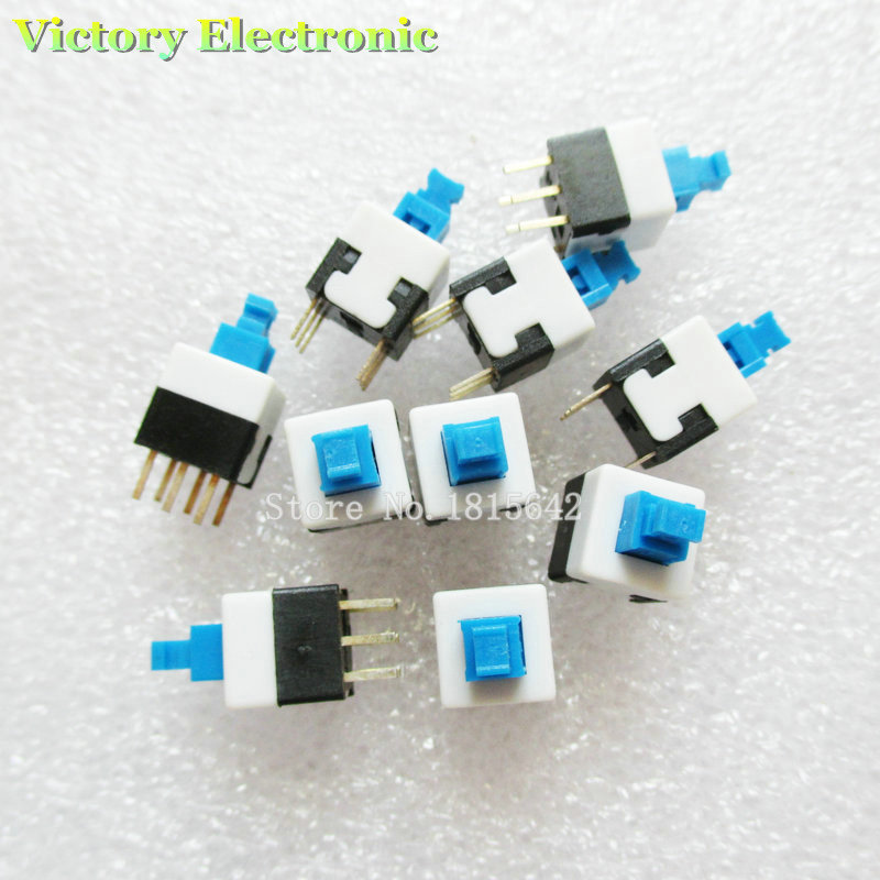 New 20PCS/Lot 8X8 8*8 Mm 6Pin Push Tactile Power Micro Switch Self Lock On/Off Button Latching Switch Wholesale Electronic