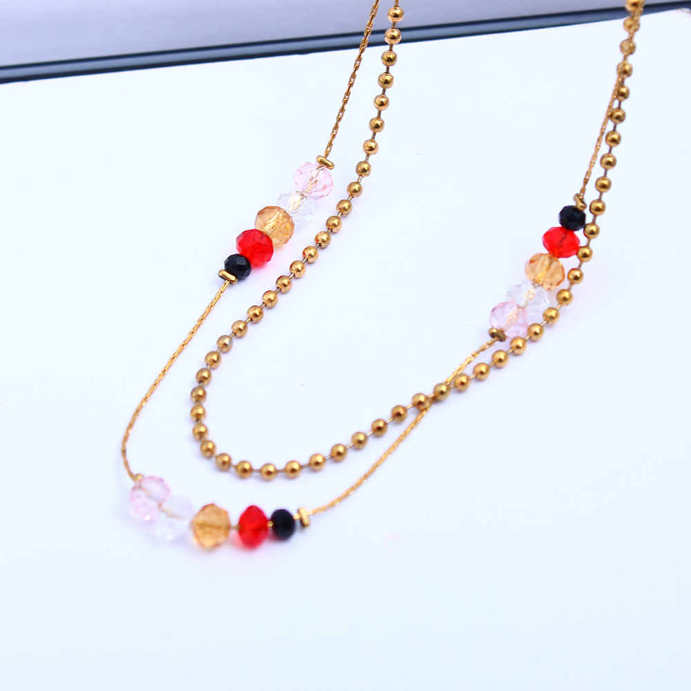 XUANHUA Stainless Steel Beads Necklaces & Pendants Chain Crystal Necklace Fashion Long Necklace Indian Jewelry Boho Jewelry