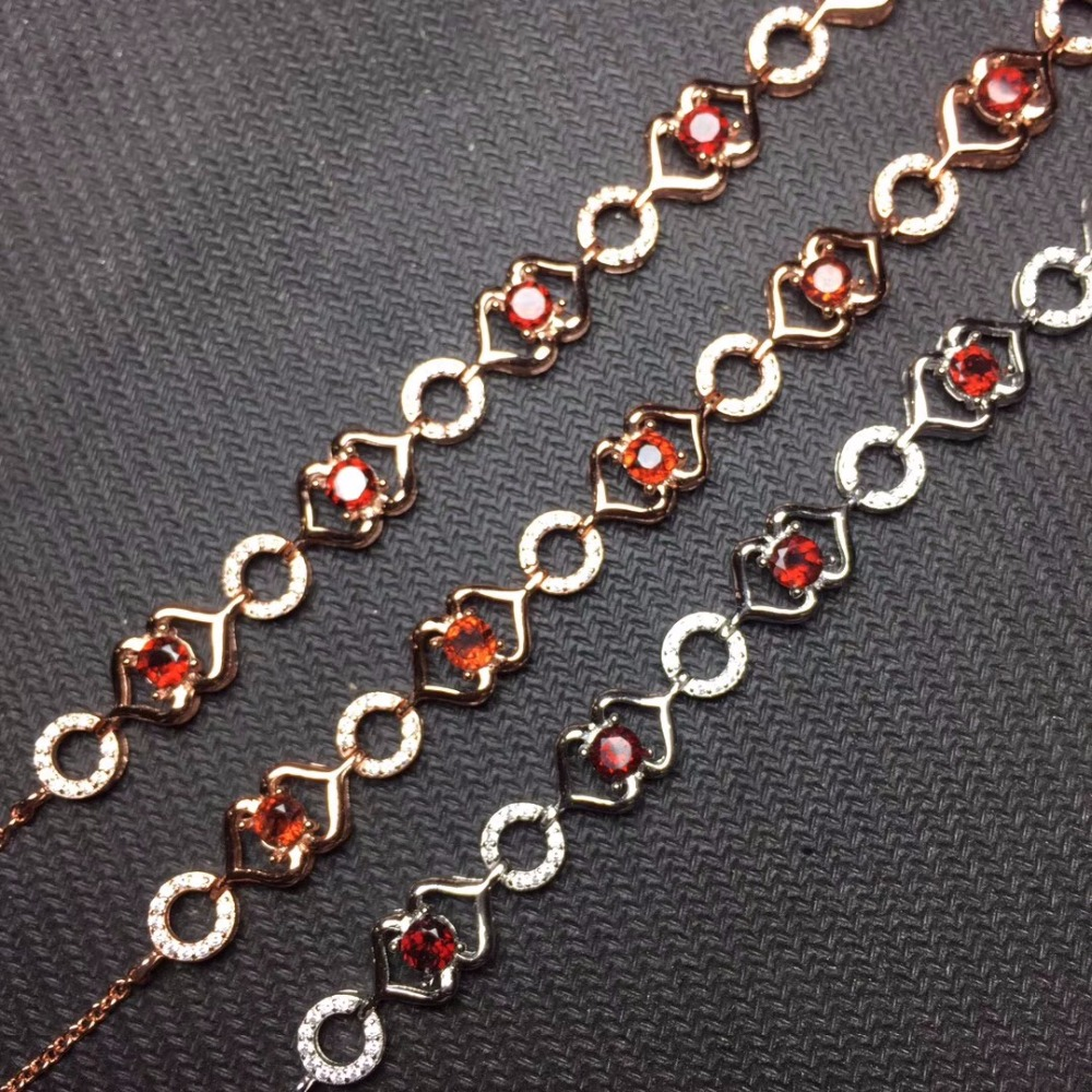 Natural garnet bracelet, 925 silver inlay, unique style, can be adjusted in size. Woman stoneNatural garnet bracelet, 925 silver inlay, unique style, can be adjusted in size. Woman stone