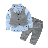 2017 Spring Gentleman Suit Set Baby 3pcs Long Sleeve Boys Shirt Vest Trousers Baby Boy Clothing