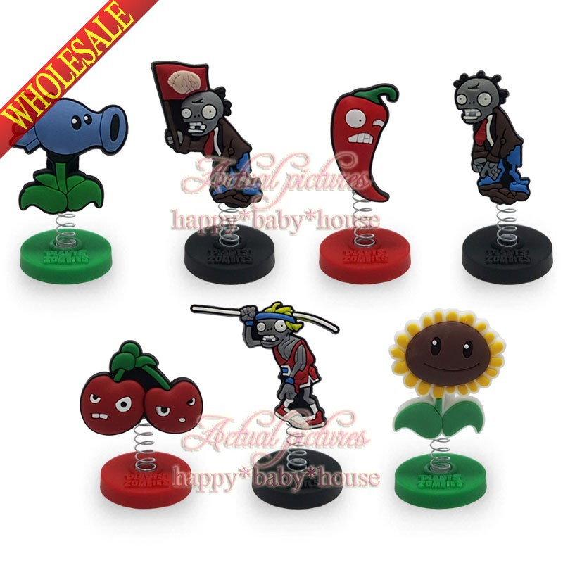 Novelty 7pcs/set Plants Vs Zombies Spring Mini Pvc Cartoon Figure Doll Stands Cartoon Decoration/ornaments Party Gifts/favors Luggage & Bags