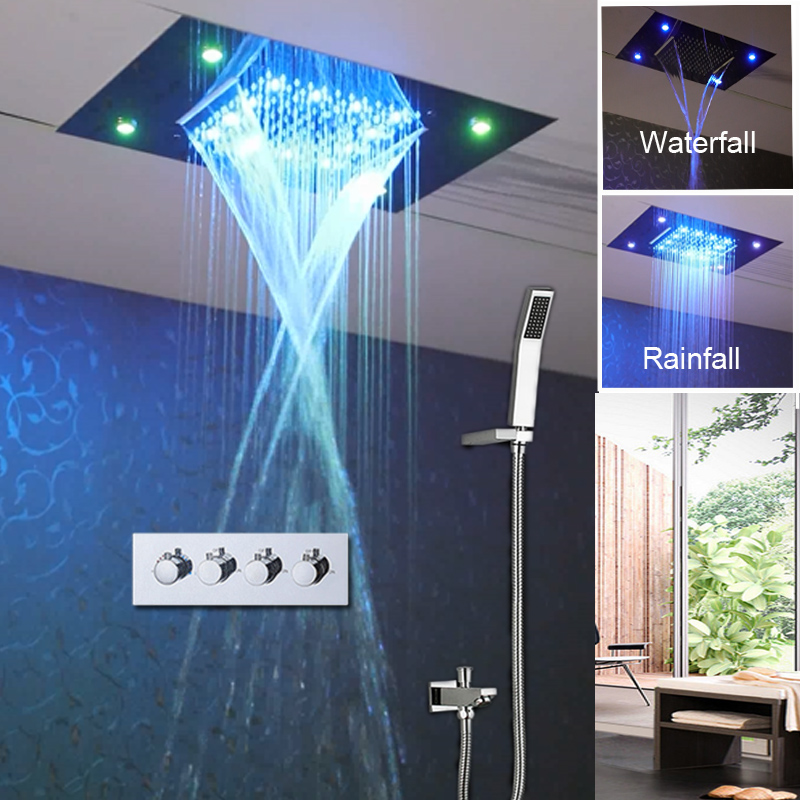 Waterfall Shower Head Set Ceiling Concealed Luxury 2