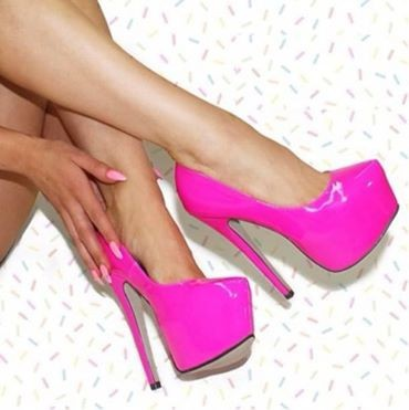 Hot Sale Pink Patent Leather Pumps Women Pointed Toe Shoes Dress ...