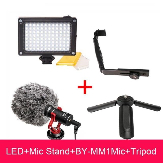 DJI Osmo Mobile 2 Vidéo Configuration Boya BY-MM1 Microphone L Support LED vidéo lumière, pied de micro pour Lisse Q Lisse 4 Vimble 2 Cardan