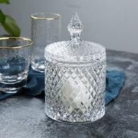 Spear Lid Lead free Crystal Glass Storage Box Decorative Glass Sugar Jar Tableware Adornment Houseware Art and Craft Accessories