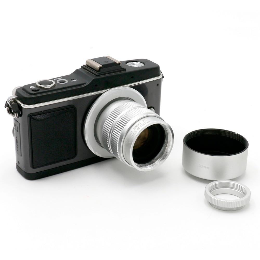 FUJIAN 35mm f/1.7 CCTV C Micro-camera lens+Micro M4/3 Adapter+hood for Panasonic Micro 4/3 E-P1 P3 G1 GF5 Macro Freeshipping
