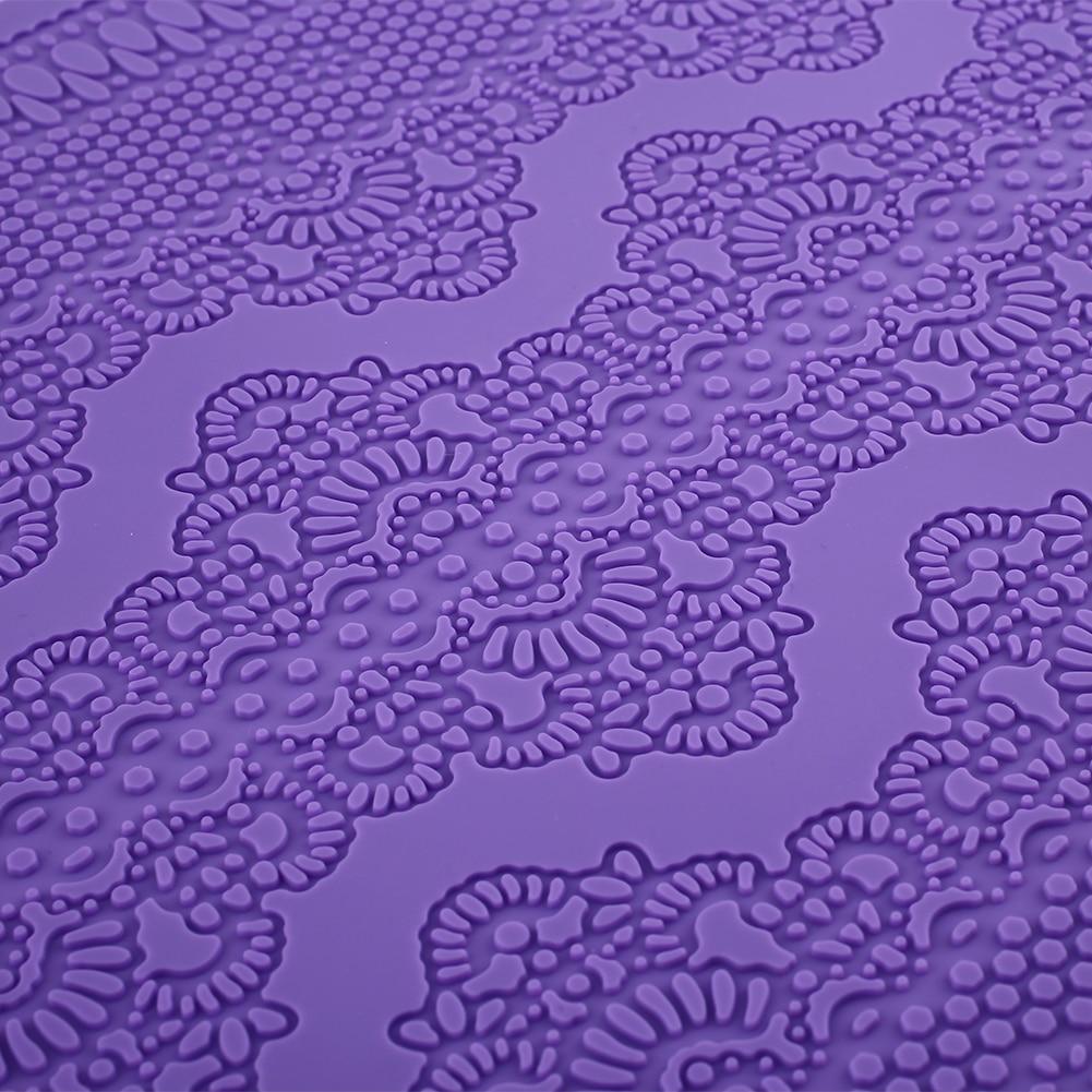 2017 Hot Sale Flower Silicone Mat Fondant Sugar Cake Decorating Tools Kitchen Lace Embossed Cake Mold Birthday Purple