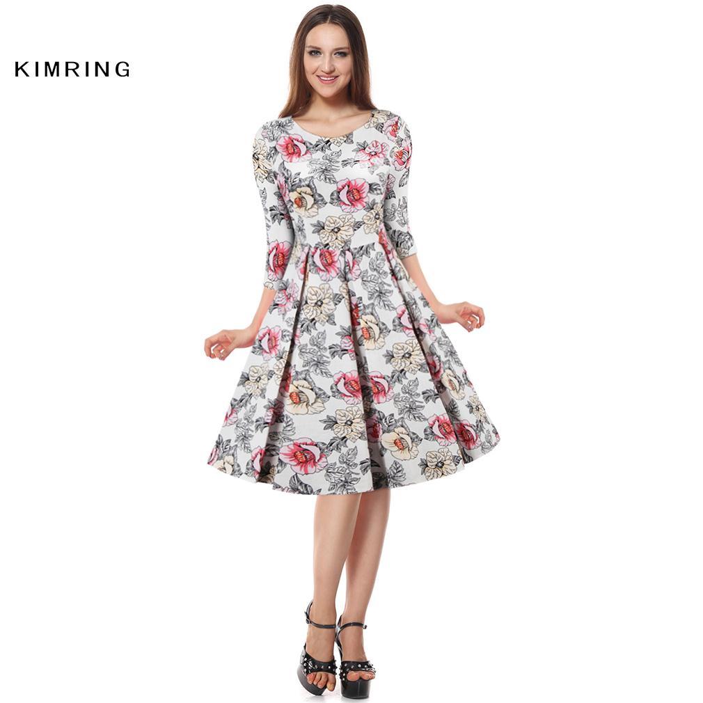 Kimring Sommer Vintage Plus Größe Kleid Hepburn Stil 1950 s 60 s ...