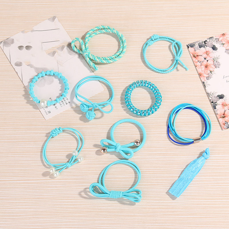 Fashion 10PCS Lot Sweet Girls Hair Scrunchie Rubber Bands Paerl Elastic 8 Colors Cross Women Hair Rope Telephone Wire in Women 39 s Hair Accessories from Apparel Accessories