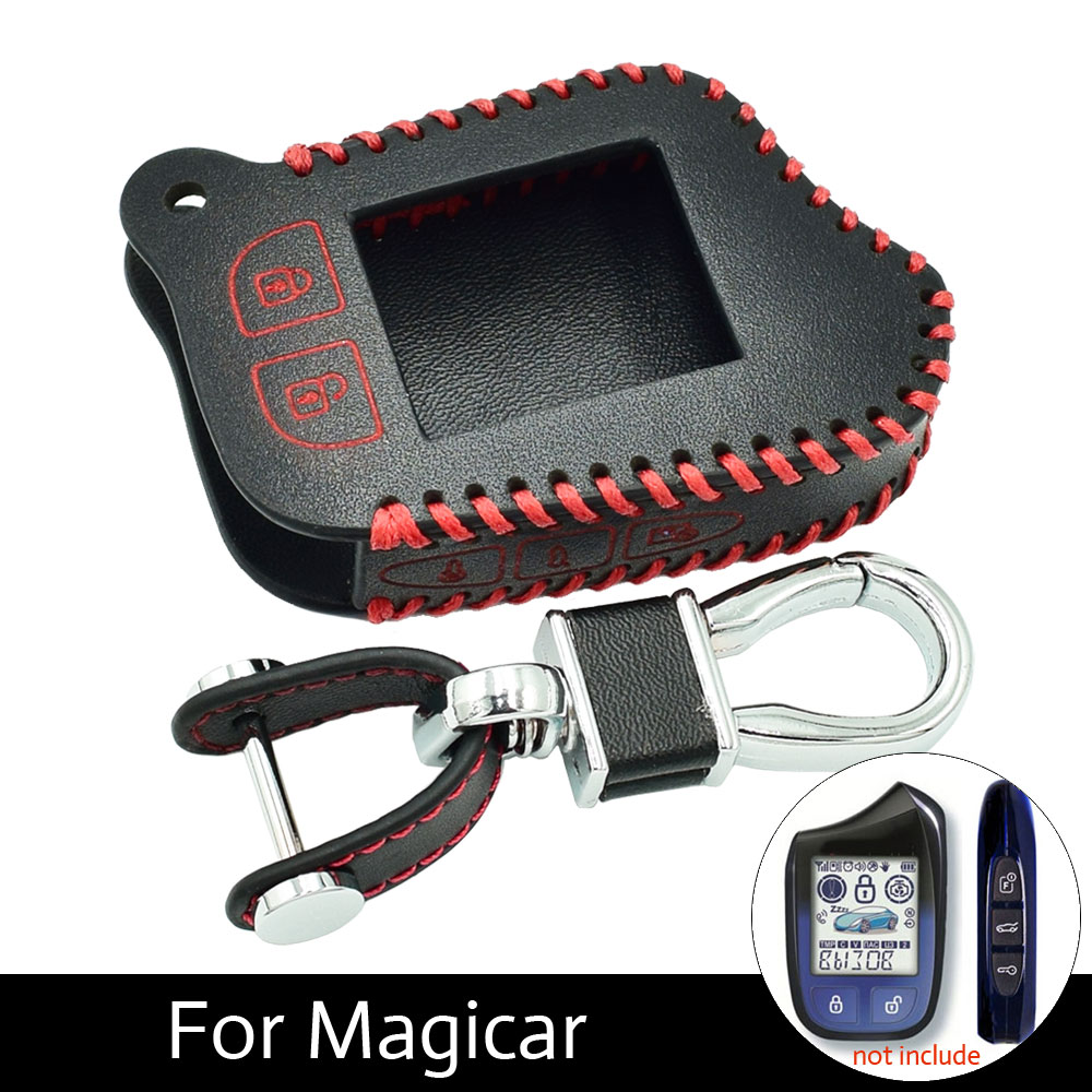 ATOBABI M13 M14 Leather Cases For Scher-Khan Magicar 13 14 m110as Auto-Signals Car Alarm Remote Controller LCD Keychain Cover magicar 903 magicar 902 remote starter two way alarm car alarm system magicar