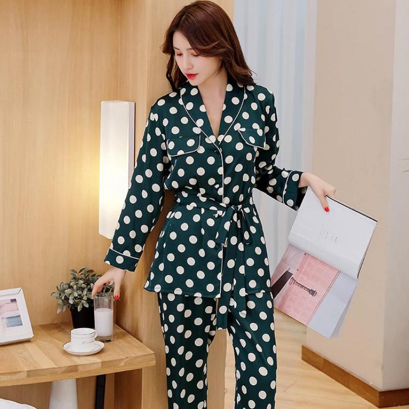 2019 New Girls' Sweet   Pajamas     Set   Green Polka Dot Home Clothes Lady Long Sleeve Shirt&Pants Suit 2Pcs Casual Sleepwear M-XL