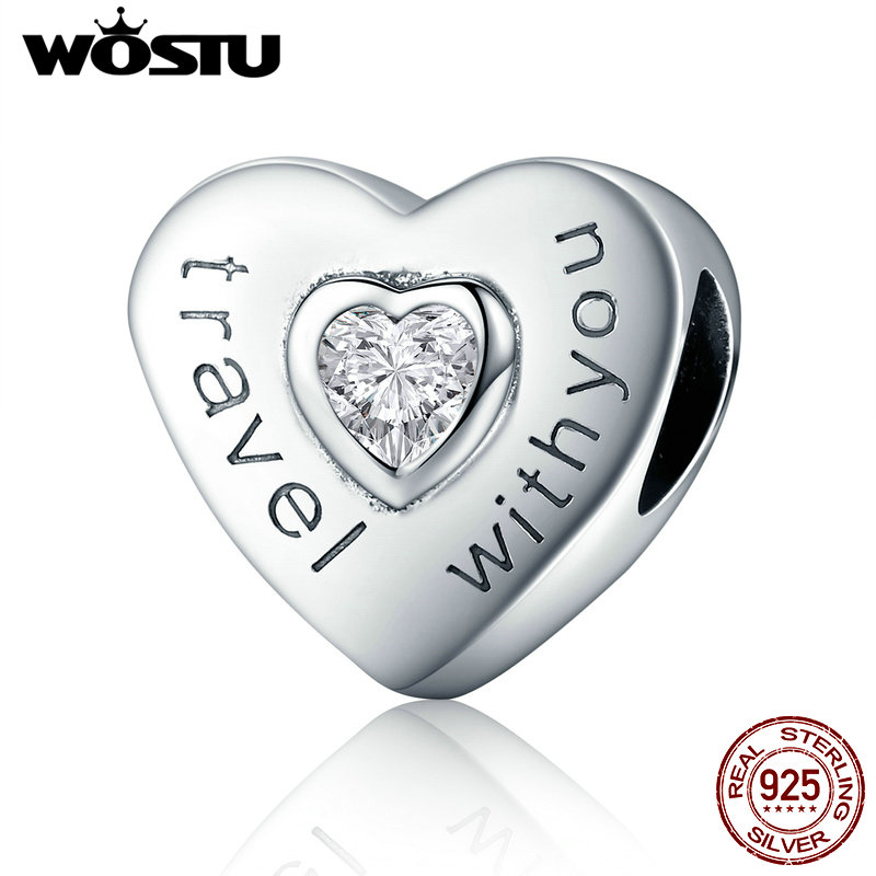 WOSTU New Collection 925 Sterling Silver Travel with You Heart Beads fit original WST Charm Bracelet Jewelry Gift CQC431