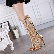 Women's Gold high heel sandals shoes New womens summer type boot sandals High quality sexy party gladiator sandals zapatos mjuer